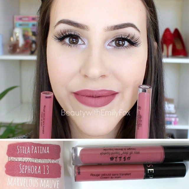 Dupes: Sephora Cream Lip Stain in Marvelous Mauve VS stilacosmetics Liquid lipstick in Patina
