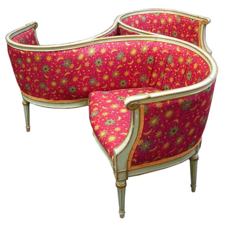French circa 1890 Tete-a-Tete Conversation Chair / Seat -how fabulous!