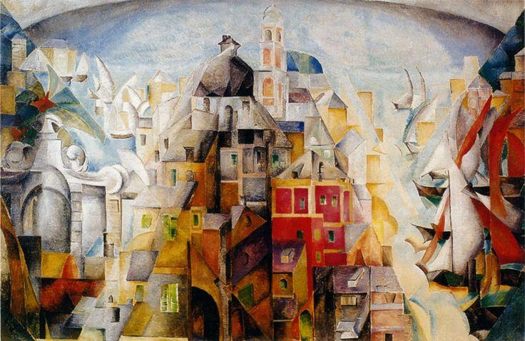 paysage synthétique de la ville de dieppe - alexandra exter 1912