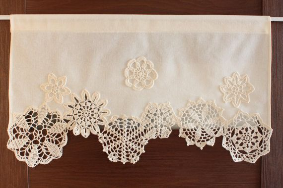 Curtain with crochet doilies cafe curtain valance by DecorAnna                                                                                                                                                                                 More                                                                                                                                                                                 More