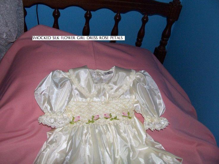 smocked silk flowergirl dress a cutiepye creation 0427820744
