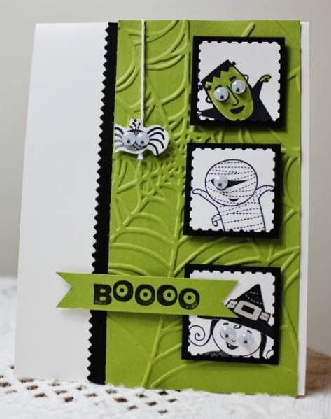 cute green black halloween card with embossed web background - What To Say In A Halloween Card