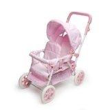 Badger Basket Folding Double Doll Front-to-Back Stroller - Pink/White