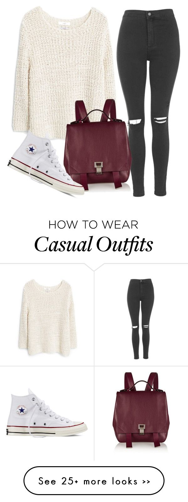 """Casual"" by gelaine-trabado on Polyvore featuring MANGO, Topshop, Proenza Schouler and Converse"