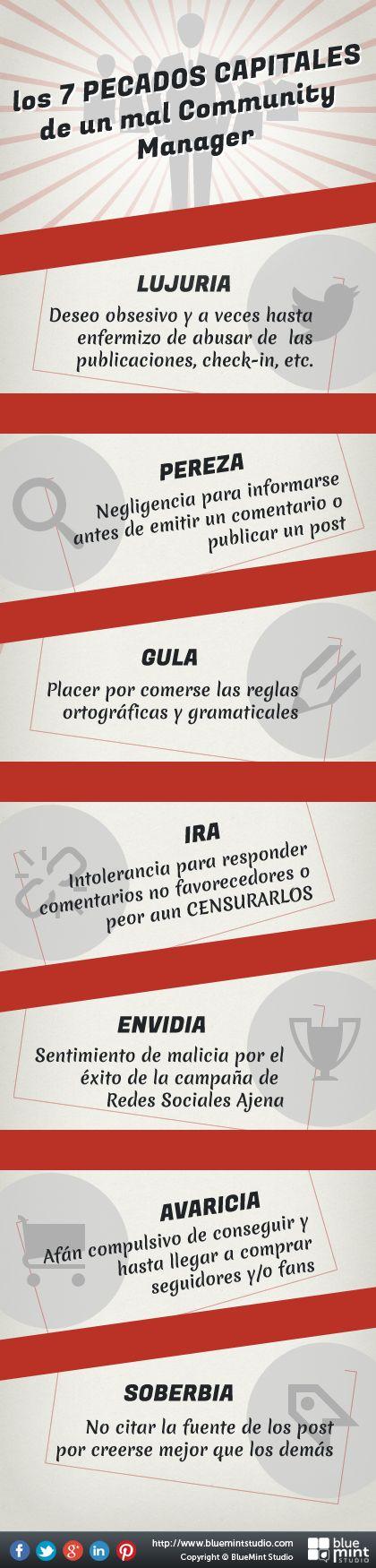 7 pecados capitales de un mal Community Manager #infografia en español.