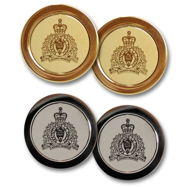 $74.99 Perfect for a business meeting, event, or just to work, the RCMP crest cufflinks will make a subtle impression on any dress shirt they are worn with. Available in either gold (23carats gold plated), or silver (polished silver-tone), these RCMP crest cufflinks come packaged in a pouch with gift box.