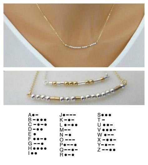 Morse code ketting, gepersonaliseerde aangepaste juwelen, moeders halsketting, naam ketting, geheime boodschap, Gift voor mamma, bruidsmeisje ketting door LAminiJewelry