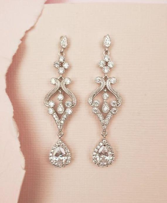 Vintage Peal Drop pendant Clip On Vintage Wedding CZ Stones Drop Earrings  Necklace Set Clear Diamond Crystal Bridal Earrings Necklace set
