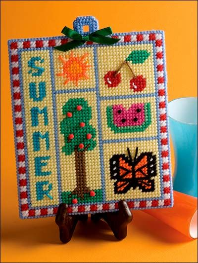Summer Sampler - (plastic canvas). Changed the word summer to our last name. Sign for the camper.