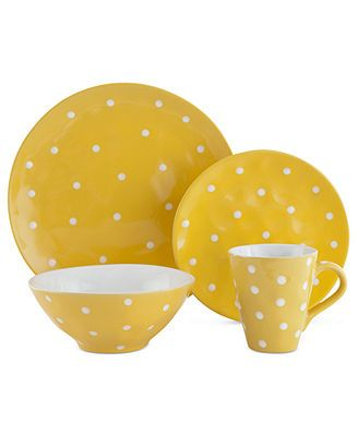 Maxwell & Williams Sprinkle Yellow 4-Piece Place Setting. I'm in love with this dish set