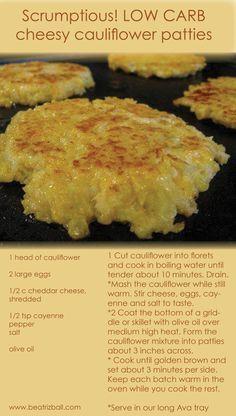 Scrumptious LOW CARB RECIPE !!  Easy cheesy cauliflower patties.