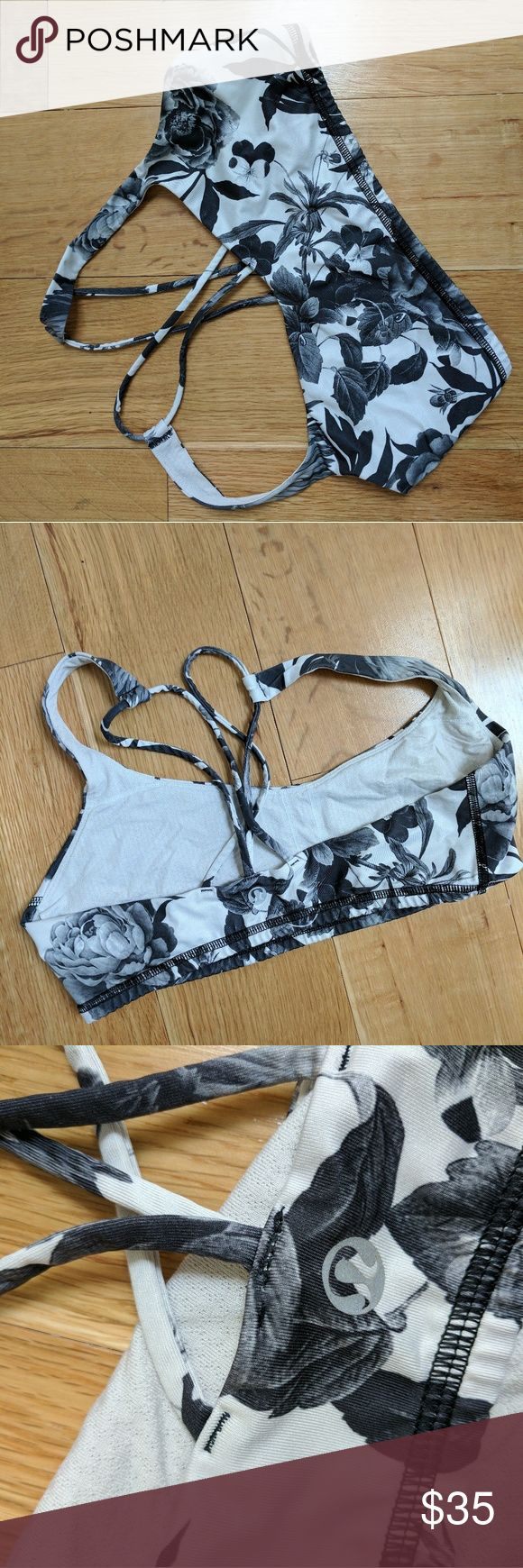 Lululemon free to be floral sports bra Good used condition! Love the unique black and white floral pattern on this sports bra - rare! Lululemon size 8 but find these to run small to size and listing as a S lululemon athletica Intimates & Sleepwear Bras