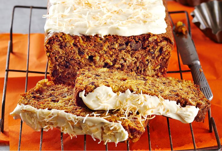 There's plenty of cream cheese frosting on this simple mix and bake carrot cake.