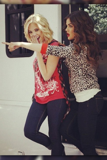 Blue Jeans Babies    Lucy Hale posted with Ashley Benson: Behind the scenes wIth @ashbenzo and I for BONGO