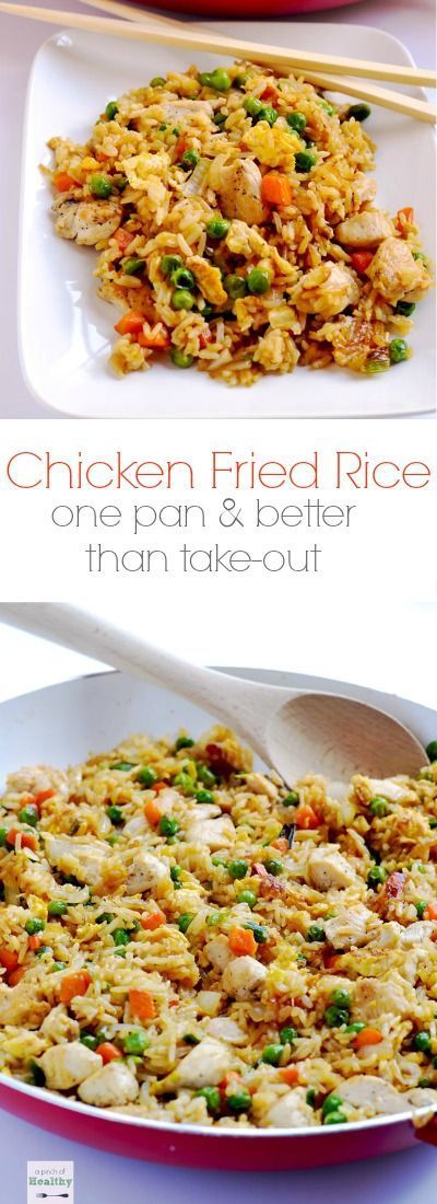 Skip the take-out and make this easy chicken fried rice at home. It's a simple weeknight dinner that's so budget friendly, and it's a real crowd-pleaser! | APinchOfHealthy.com