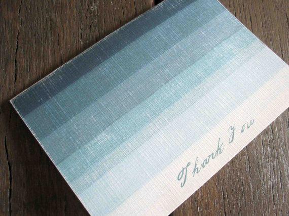 Aqua Thank You Cards (Set of 50) - Sea Blue Ombre Color Block Design.Cards Sets, Aqua Ombre, Blue Ombre, Thank You Cards, Ombre Color