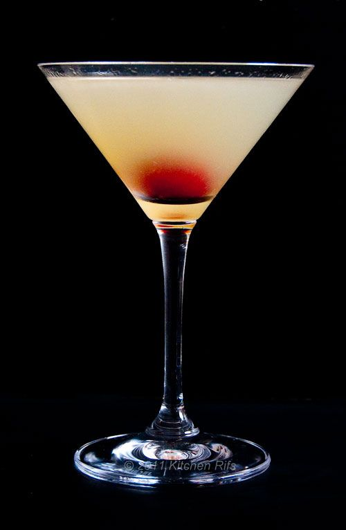 The Corpse Revivier  ¾ oz gin (I suggest Plymouth's)   ¾ oz Cointreau  ¾ oz Lillet Blanc (available in good liquor stores)  ¾ oz lemon juice  1 or 2 drops of Pernod, Ricard, or absinthe - or any other pastis (anise-flavored liqueur)  1 stemless cherry for garnish (optional)