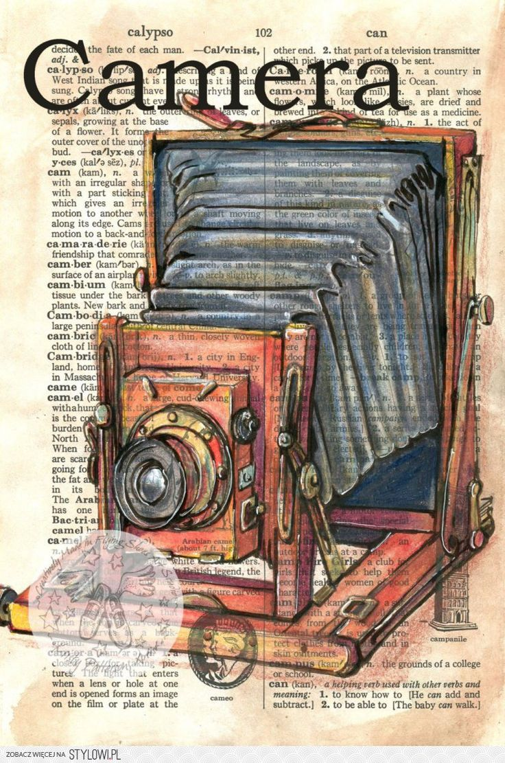 PRINT: Camera Mixed Media Drawing on Dictionary by fly… na Stylowi.pl