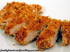 Baked Panko-Crusted Chicken.     2 chicken breasts, sliced thin (2 slices per breast)  2 Cups Panko Crumbs  1 Tbsp Paprika  1 tsp onion powder   1 tsp season salt   Combine Panko mixture with 1 Tbsp olive oil to keep it together.   In shallow bowl, beat one egg and about 1 T millk together. Dip chicken into the egg, then the Panko mixture. Bake at 400 degrees for 30 mins.