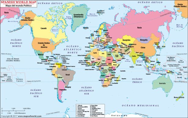 Buy Spanish World Map online | World political map, World ...