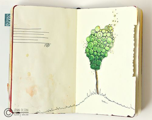 journal inspiration and the bit cut off the edge is unusual.  Cool page!