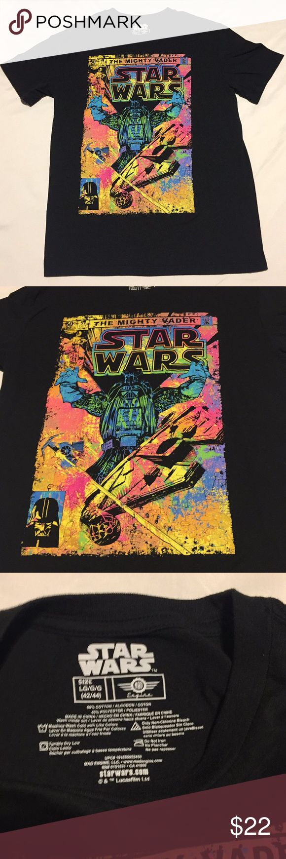 Unisex STAR WARS T-shirt EUC This shirt is awesome! Black with lots of neon color. The image has no signs of fading. Neither does the shirt...back is plain black. It has a fun vintage feel and a must for any Star Wars fan. Tag is sized xl however I believe it can fit smaller sizes. See photo measurements. Unisex: Ladies wear w leggings or your favorite jeans. Check out the pictures ....The Mighty Darth Vader! Star Wars Shirts Tees - Short Sleeve