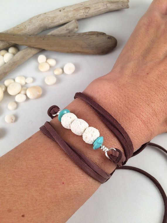 Lava Rock Leather Wrap Diffuser Bracelet by SimplyQuinns on Etsy