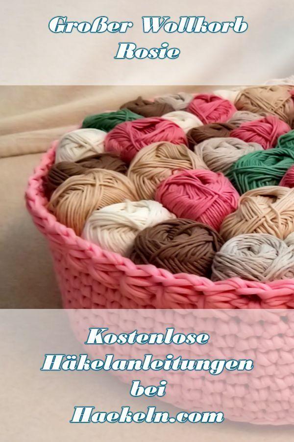 Großer Wollkorb Rosie häkeln • Kostenlose Anleitung