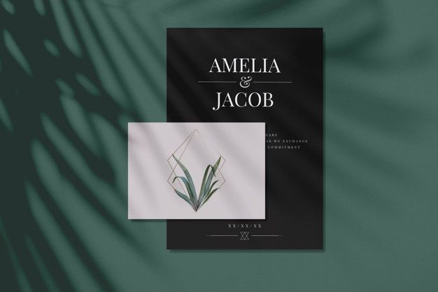 Wedding Invitation Card Mockups With Leaves And Golden