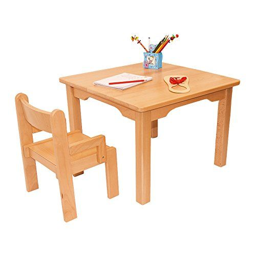 Childrens Furniture Solid Beech Wood Childrenu0027s One Table With One Chair  With Arm Rest Natural Varnish