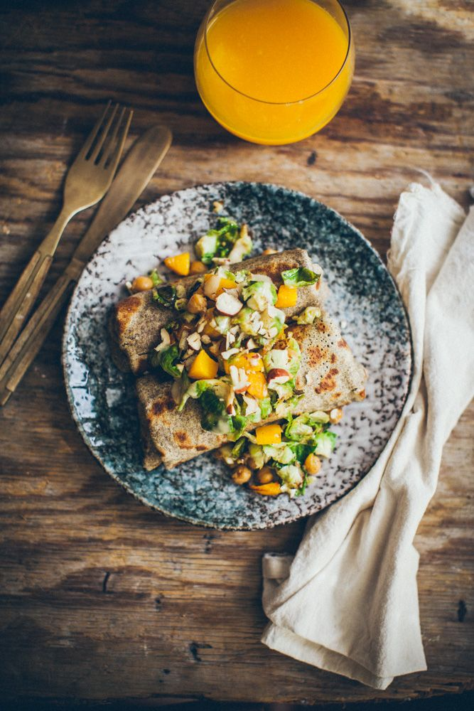 Buckwheat crepes with brussels sprout, chickpea and pumpkin filling