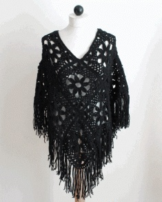 Love the lace and style of this crochet wrap. PS048