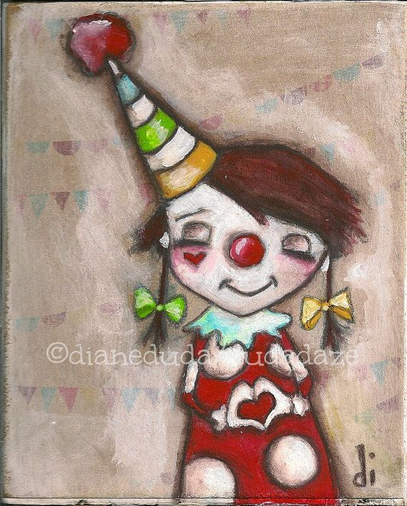 "Original Mini Painting on wood  ""My Funny Valentine""  ©dianeduda/dudadaze"
