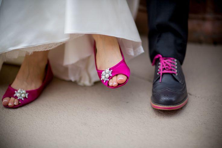 Pink & Black Bride and Groom Wedding Shoes - Pink & Black Jewish Downtown St. Pete Wedding - NOVA 535 - Lauren Pauline Photography
