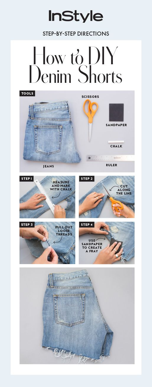 An easy four-step guide on how to cut your jeans into shorts.