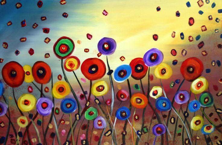 DANCING FLOWERS 5X7 Fantasy Whimsical Art Giclee Print. $9.00, via Etsy.