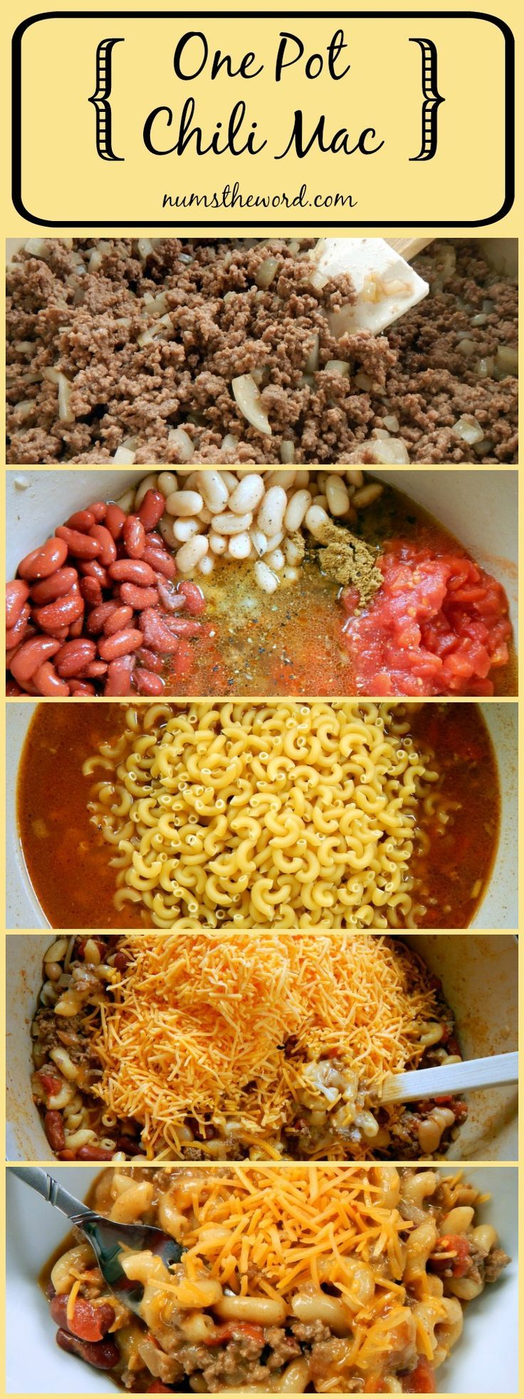 One Pot Chili Mac - If you love 30 minute meals that require ONE POT for clean up, then you MUST try this easy and hearty One Pot Chili Mac. A good home cooked weeknight meal!