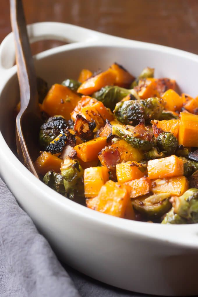 Maple Roasted Butternut Squash with Brussels Sprouts and Bacon! |This Paleo side dish is perfect for the Holidays! | wickedspatula.com