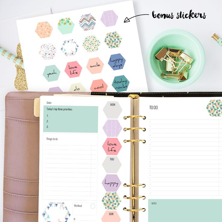 saved2-22-17--Free printable planner inserts. Fits large A5 planners such as Kikki K or Filofax. Printable daily planner and to do list. Bonus printable planner stickers.