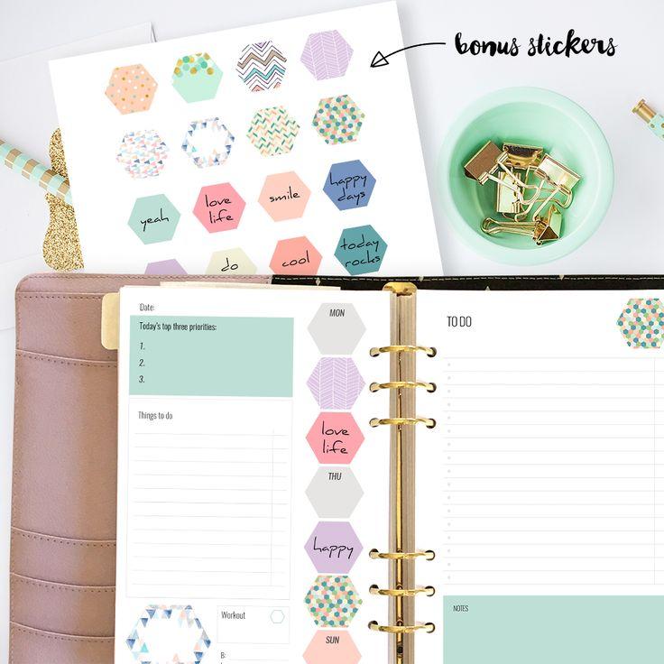 Free printable planner inserts and bonus sticker sheet!