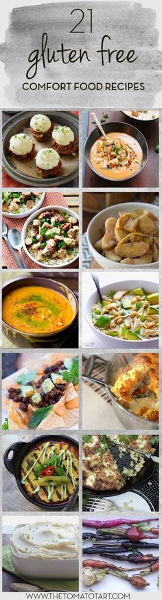 21 Gluten Free Comfort Food Recipes including  Gluten Free Mac and Cheese, Swedish Meatballs, Creamy Vegan Carrot Soup, Chicken Pot Pie, and Nachos!