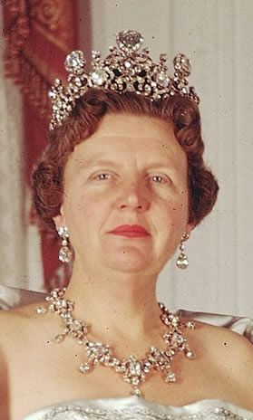 H.M. Queen Wilhelmina of The Netherlands didn't wear the set all that often, but H.M. Queen Juliana of The Netherlands had a great appreciation for the sparkle the Stuart brought. On her head it appeared at several major royal events, including the wedding of Denmark's future queen; H.M. Queen Margrethe II of Denmark. Juliana wore it until the last years of her reign; it hasn't been seen since then (Juliana abdicated in favor of her daughter H.M. Queen Beatrix I of The Netherlands in 1980).