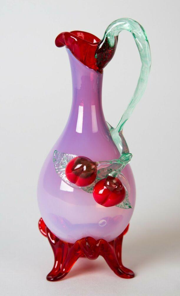 Stevens Williams Antique Art Glass Cruet Ewer Applied Cherries
