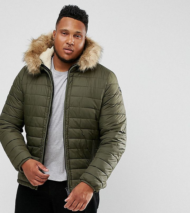 Schott PLUS Rocky 2 Puffer Bomber Hooded Detachable Faux Fur Trim Slim Fit in Green  #Bomber coat #ShopStyle #MyShopStyle click for more information or to purchase the item