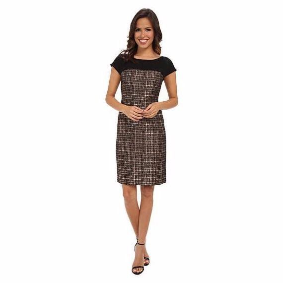 $158 Donna Morgan Gold Bronze Black Illusion Mesh Sheath Dress 6 NEW D324 #DonnaMorgan #Sheath #Cocktail