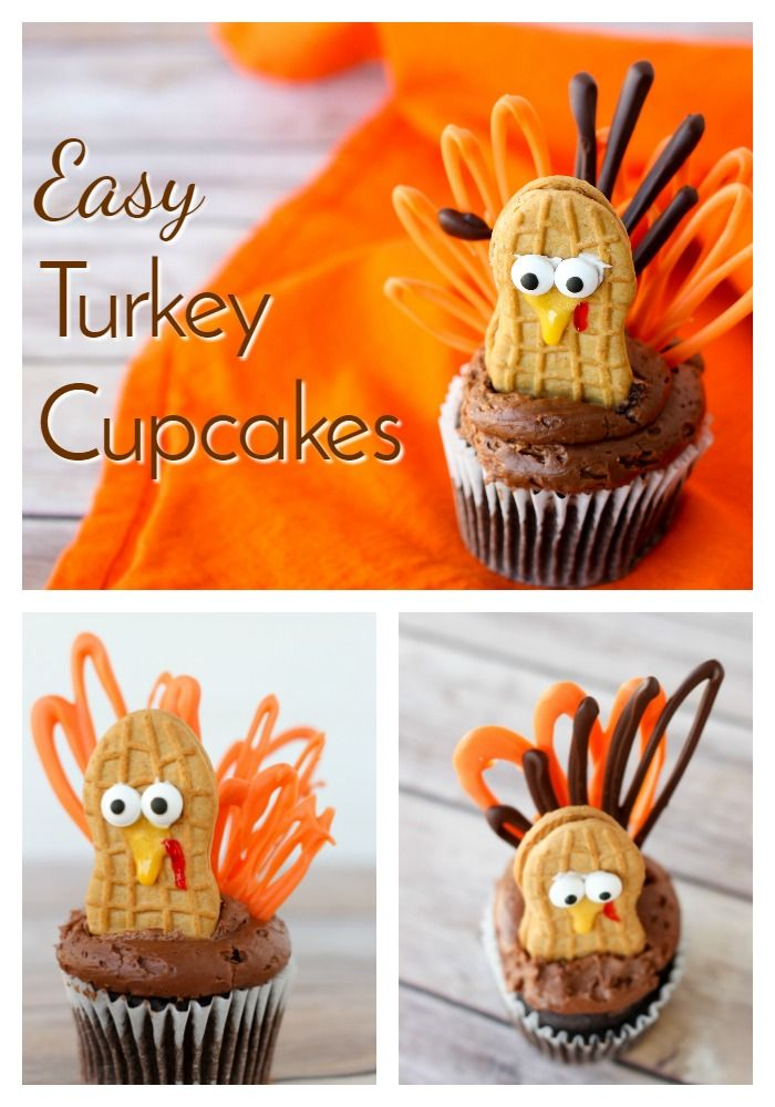 Celebrate Thanksgiving with these adorable little turkey cupcakes! Now you can have turkey for dessert, too! Quick and easy- the best!