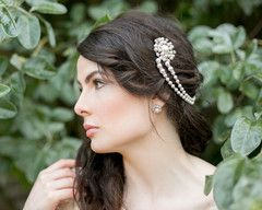 The Lucy Draped Pearl Headpiece.