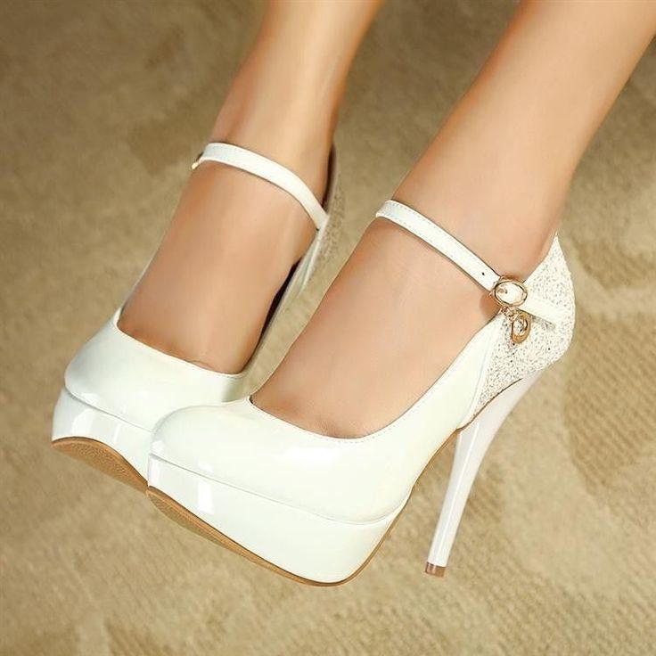 Brilhante salto alto agulha plataforma bombas festa bolsas femininas casamento sapatos bege/branco