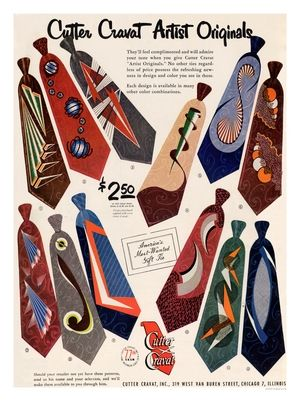 AP2656 - Cutter Cravats, Vintage Menswear Tie Advert, 1950s (30x40cm Art Print)