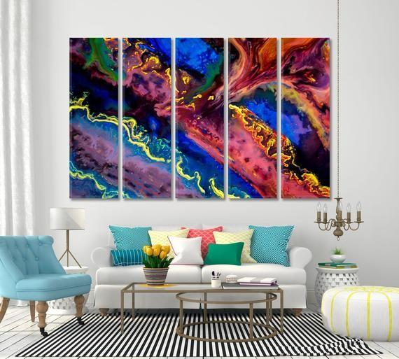 Abstraction Creative Bright Large Wall Decor For Home Canvas Etsy Abstract Wall Decor Bright Walls Acrylic Wall Art